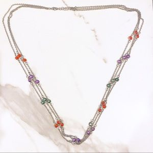 Silver Three-Layer Chain Necklace with Stones